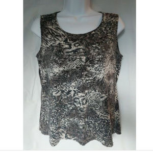 Chicos Animal Print Quilted Top Size 0
